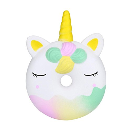 Wcysin Slow Rising Squishies Jumbo, Cute Unicorn Doughnut Soft Squeeze Decompression Toys Key Cell Phone Pendant Strap Gifts for Adult/Kids Toys