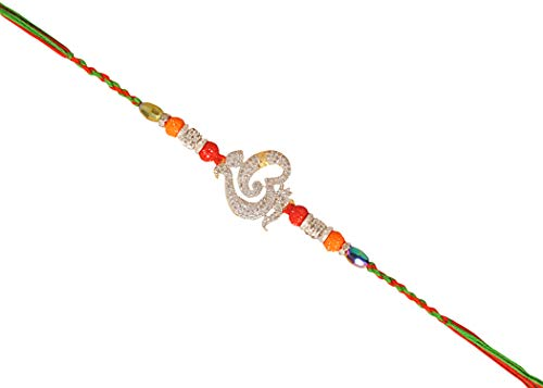 OM Ethnic Designs with American Diamonds with Beads & Colourful Threads for Bhaiya Brother/Sisters,Traditional Rakhi,Thread,Bracelet for Rakshabandhan Festival by Pure Indian Rakhi