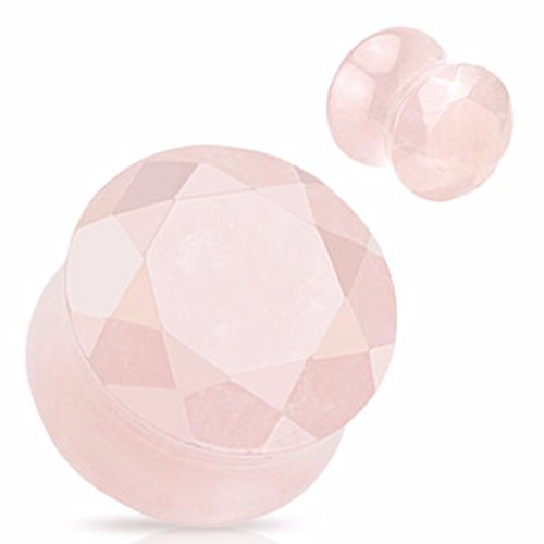 Freedom Fashion Rose Quartz Precious Stone Faceted Gem Double Flared Plug (Sold by Pair)