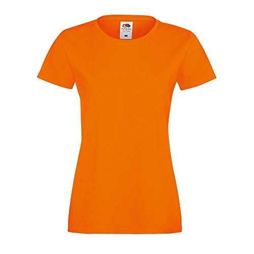 Fruit of the Loom Ladies Lady-fit Sofspun Fashion Fit Cotton T Shirt Orange