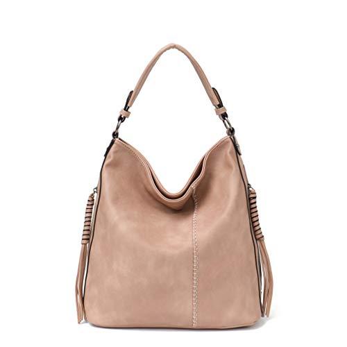 BiAZbag Faux Leather Hobo Handbag Large Tote Bag Natural