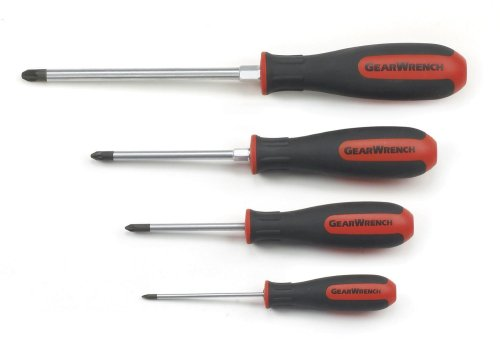 GearWrench 80061 4 Piece Pozi Drive Dual Material Screwdriver Set