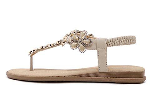 VECJUNIA Ladies Rhinestone Clip Toe Flip Flops Slip On Sandals Casual Shoes apricot wCN2RNB