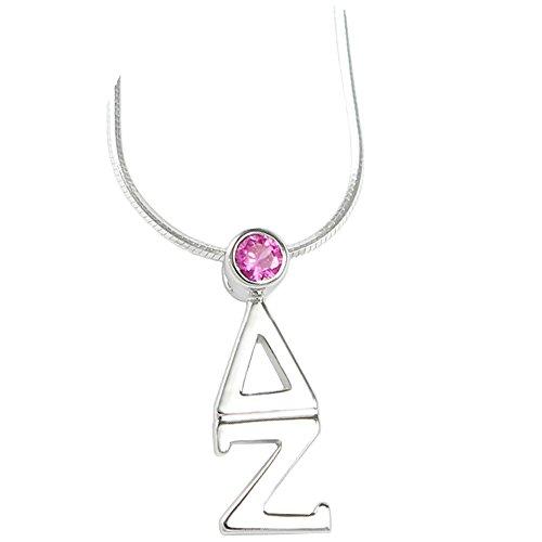 Greekgear Delta Zeta Sterling Silver Lavaliere Pendant with SwarovskiÖ Pink Crystal