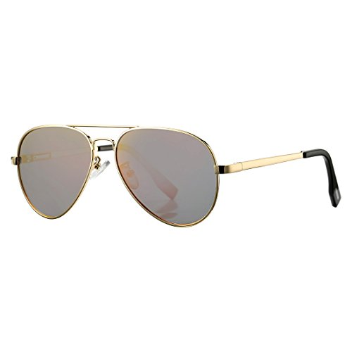 Aviator Sunglasses for Kids Juniors Small Face Women Men Vintage Polarized UV400 Protection Shades with Case(Gold Frame/Red - Small Aviators