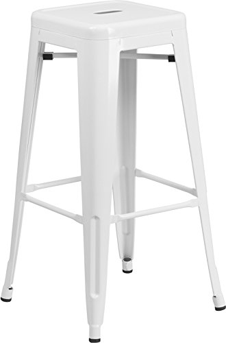 Flash Furniture 30'' High Backless White Metal Indoor-Outdoor Barstool with Square Seat (Bar And Barstools)
