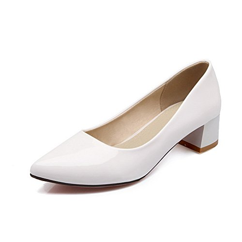 BalaMasa Ladies Chunky Heels Low-Cut Uppers Winkle Pinker White Patent Leather Pumps-Shoes - 4 B(M) ()