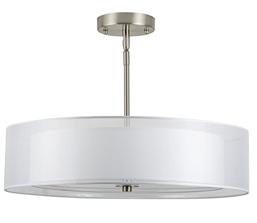 Grazia 20-Inch Three-Light Double Drum Convertible Ceiling Fixture, Brushed Nickel with a White Fabric Shade - Linea di Liara LL-P117-BN