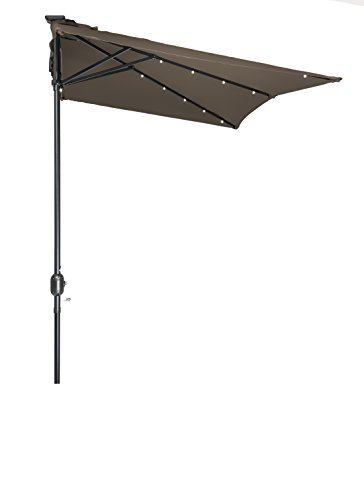 5' x 6.5' LED Rectangular Patio Half Umbrella - by Trademark Innovations (Tan) (Umbrella Patio Half)