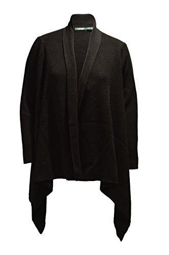 Lauren Ralph Lauren Plus Size Rib Knit Shawl Collar Cardigan Sweater - One Size Plus (Black)