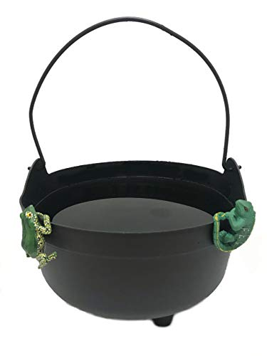 Witches Black Cauldron with Lizard and Frog Pot Hangers - Great for Halloween Decor, Parties, Trick or Treat Candy Bucket & More - Kettle Includes Handle - 14 Inch -