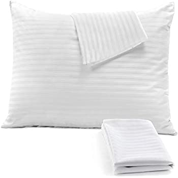 4Pack Pillow Protectors Queen 20x30 Inches Premium 100% Cotton Sateen Stripe 450 Thread Count Tight Weave Lab Tested Non Noisy Zippered Covers Breathable Non Crinky Luxury Hotel