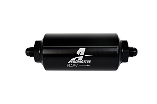 Aeromotive 12348 Line Filter-(an-6 Male) 40 Micron Stainless Mesh Element Bright Dip Black ()