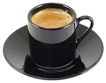 (HIC 8-Piece Demitasse Espresso Cups Set, Fine Black Porcelain, Set Includes 4 Cups with Matching Saucers, 2.25-Ounces)