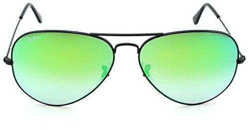 Ray-Ban RB3025 Aviator Large Metal Gradient Unisex Aviator Sunglasses (Shiny Black Frame/ Mirror Gradient Green Lens 002/4J, 62)
