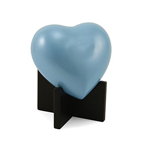 Arielle Heart Bronze Dog, Cat Animal Memorial Urn - Small - Holds Up To 20 Cubic Inches of Ashes - Pastel Blue Pet Cremation Urn for Ashes - Engraving Sold Separately