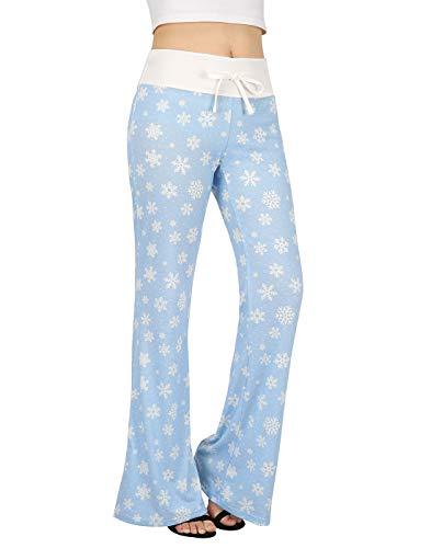 (HDE Womens Cotton Pajama Pants Wide Leg Sleepwear Casual Loose Lounge PJ Bottoms)