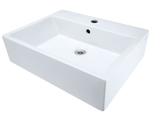V2502-W White Porcelain Vessel Lavatory Sink Rectangular Vessel Lavatory Sink