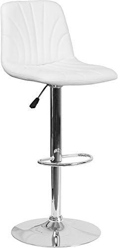 Modern Mid Back Design White Vinyl Adjustable Height Barstool with Chrome Base