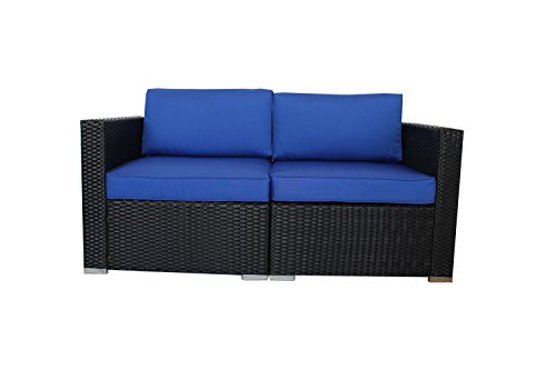 Outdoor Black Woven Couch Patio Wicker Sofa Set Garden Rattan Furniture Royal Blue Cushion Cover Cushioned Sectional Conversation Set (2pcs)
