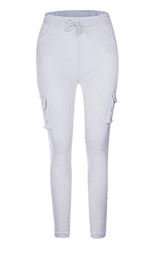 Skinny Pantaloni Bianca Trousers Battercake Tasche Coulisse Donna Elastico Pantaloni Matita Tempo Pantaloni Libero A Con Fashion Donne Con Cargo Eleganti Monocromo Casuale EEw1Xq