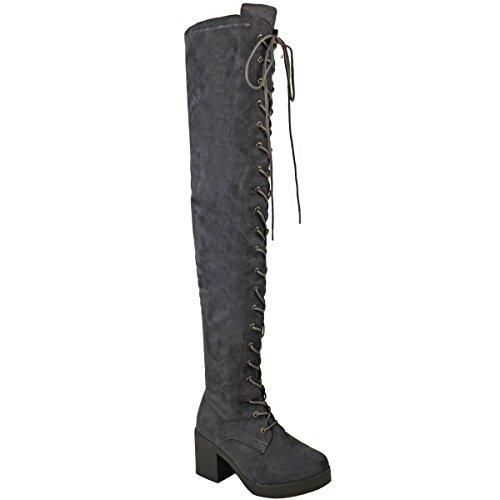 les bottes épais Femme genou lacets sur avec au à des talons 5wwxEOqr