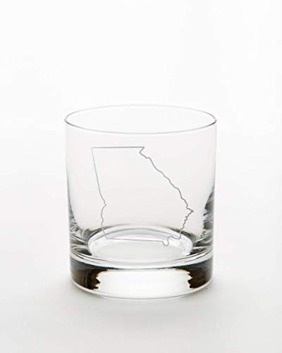 Georgia Art Glass (Engraved Whiskey Glass, 10.5 oz-Georgia State Outline-By Art of Engraving)