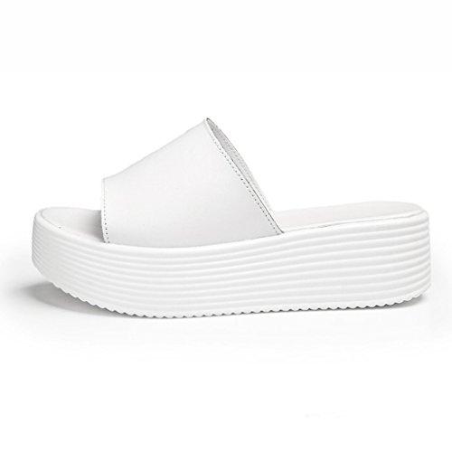 Zapatos para mujer HWF Zapatos de Plataforma de Verano Sandalias de Mujer Cool Zapatillas de Mujer Zapatos (Color : Blanco, Tamaño : 35) Blanco