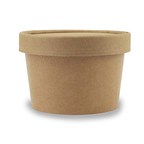 (8 oz Freezer Containers And Lids - Kraft Paper To Go Cups - Durable Heavy Duty Small Ice Cream Containers! Non-vented Lids Prevent Freezer Burn! Fast Shipping - Frozen Dessert Supplies - 250 Count)