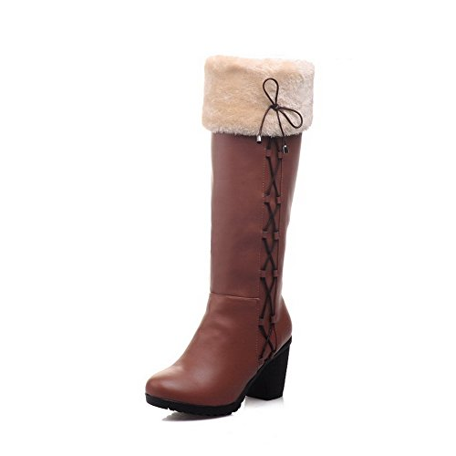 Allhqfashion Women's Soft Material Closed Round Toe Solid High-top High-Heels Boots Brown pFXgTbf