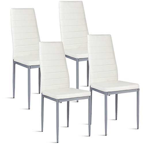 COSTWAY PU Leather Dining Side Chairs Elegant Design Home Furniture, Set of 4 (White) (White Leather Furniture Sets)