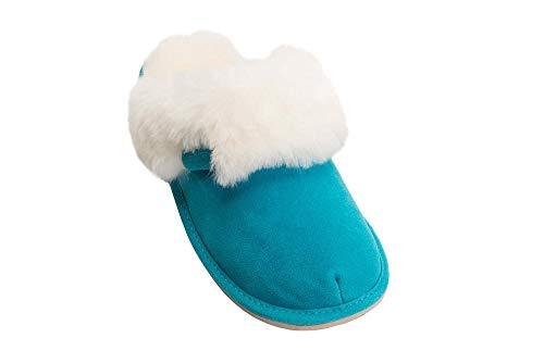 Chaud Manchette Laine Rusnak Double W74 de avec Luxe Chaussons Vogar Femmes Mouton Turquoise C Peau Pantoufles qP7UAqvw