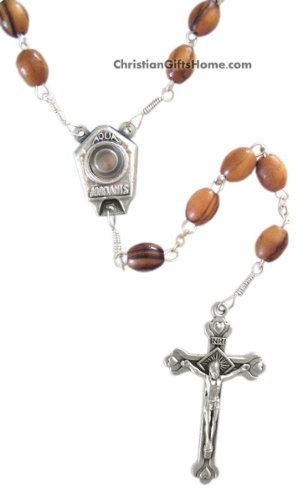 1 X Olive Wood Rosary with Jordan River Water - Made in Beth