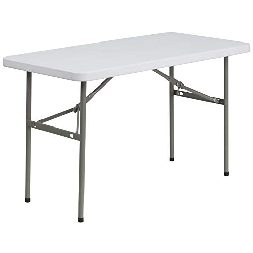 - Flash Furniture 24''W x 48''L Granite White Plastic Folding Table - DAD-YCZ-122-2-GG
