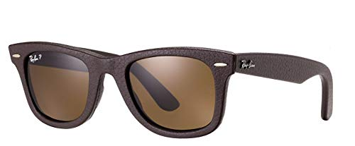 Ray-Ban RB2140QM (1153N6) Brown Leather/Polarized B-15XLT 50mm, Sunglasses Bundle with original case, cloth, booklet and accessories (6 - Polarized Max Lens Brown