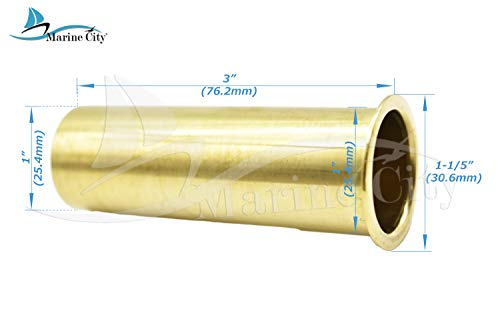 Marine City Brass 3 Inches x 1 Inches or 3 Inches x 1-1/4 Inches Drain Tube for Boat (3 Inches x 1 Inch)