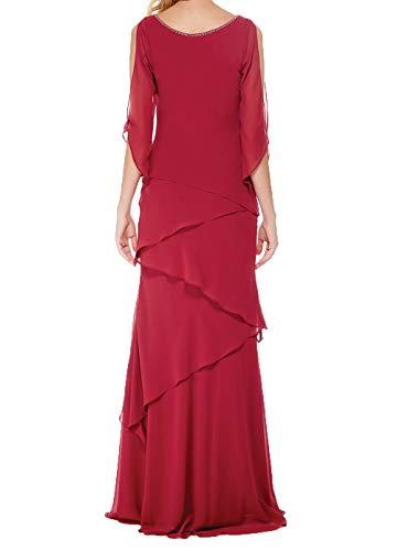 Rot Partykleider Damen Abendkleider Chiffon Langes Ballkleider Festlichkleider Charmant Brautmutterkleider 8aqBzwBx