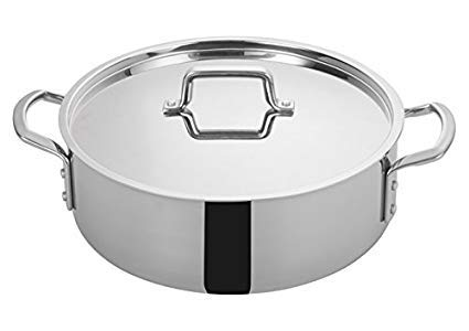 (Winco TGBZ-12, 12 Quart Tri-Gen Tri-Ply Stainless Steel Brazier, with Mirror Finish Exterior and Satin Finish Interior, Commercial Grade Braiser Pan)