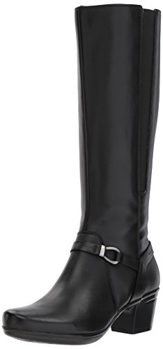 Clarks Women's Emslie Sinai Riding Boot, Black Leather, 8 M US by CLARKS