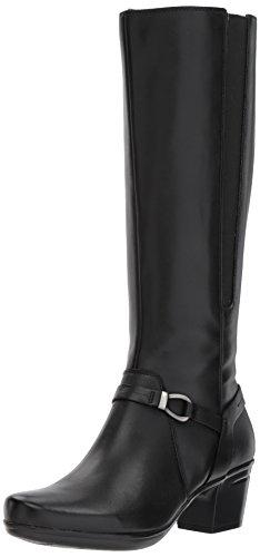 CLARKS Women's Emslie Sinai Riding Boot, Black Leather, 5 M US