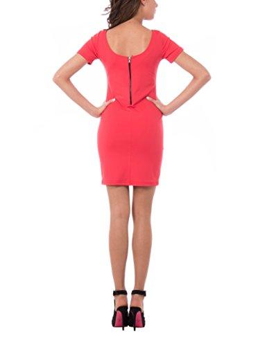 Olivia Abito Tubino con Manica Corta, Vestido para Mujer Rojo (GERANIO)