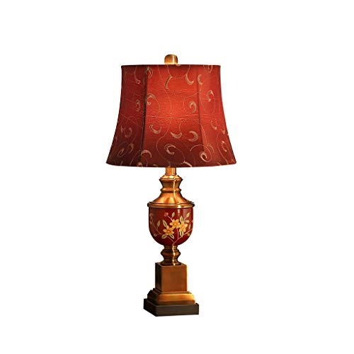 FMEZY Wedding Table Lamp Bedroom Bedside Lamp American Retro Warm Romantic Red Desk Lamp Nightstand Lighting (Size : Power Switch Button)