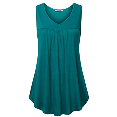 Women Sleeveless Pleated Tank Top Summer V Neck Flowy T Shirt Blouse Solid Tunic Tops Blue