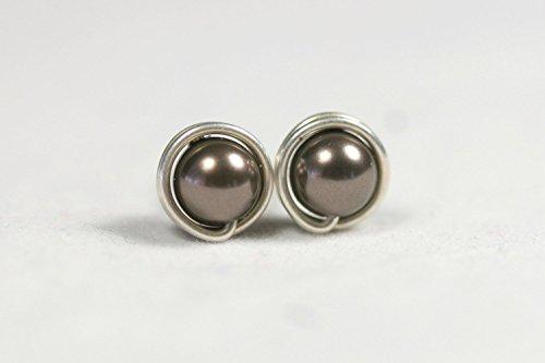 chocolate pearl stud earrings - 9