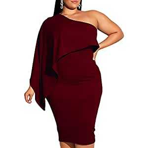 TOB Women's Plus Size Causal Cape One Shoulder Long Sleeve Evening Midi Dress