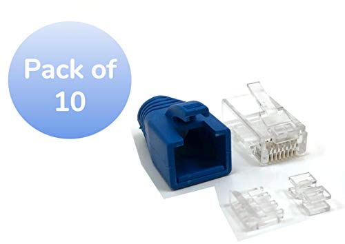 Micro Connectors Cat 6A RJ45 Modular Connectors with Boots and Load Bar - Pack of 10 (C20-088L6A-10)