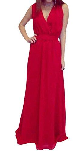 Jaycargogo Femmes Sans Manches V-cou Robes De Soirée Maxi Semi-formelle Rouge
