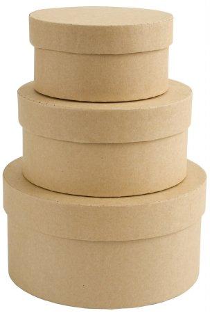 Bulk Buy: Docrafts (3-Pack) Papermania Bare Basics Nesting Boxes 3/Pkg Circle P1742202 -