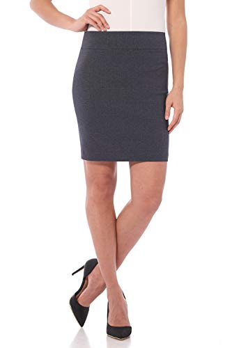 (Rekucci Women's Ease Into Comfort Above The Knee Stretch Pencil Skirt 19 inch (Small,Indigo Tartan))