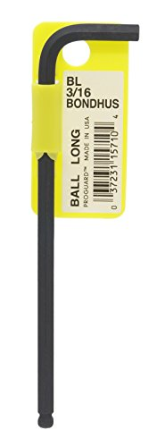 Bondhus 15710 3/16 Ball End Tip Hex Key L-Wrench with ProGuard Finish, Tagged and Barcoded, Long Arm - Ball Hex L-wrench